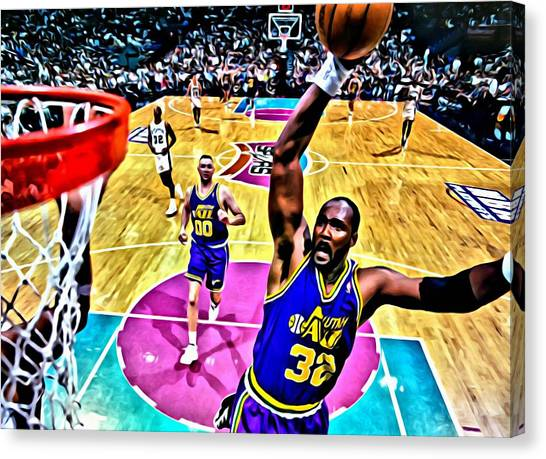 Utah Jazz Canvas Print - Karl Malone by Florian Rodarte