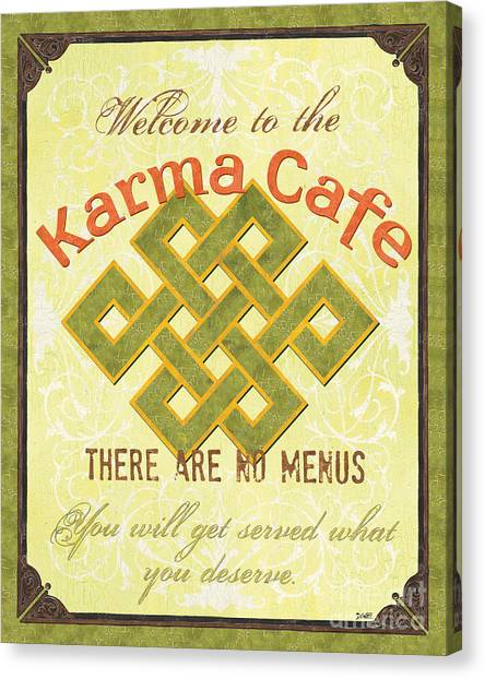 Cafes Canvas Print - Karma Cafe by Debbie DeWitt