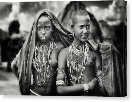 Necklace Canvas Print - Karo Girls Sharing A Scarf by Piet Flour