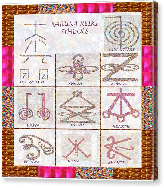 Karuna Reiki Healing Power Symbols Artwork With  Crystal Borders By Master Navinjoshi Canvas Print