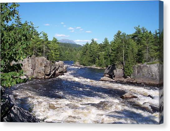 Katahdin From The Crib On The West Branch Canvas Print