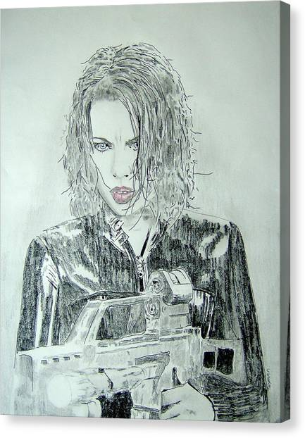 Kate Beckinsale Underworld Drawing Canvas Print