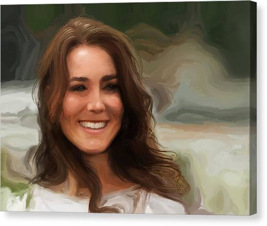 Canvas Print featuring the painting Kate Middleton by Jennifer Hotai