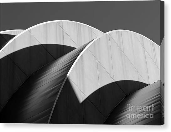 Kauffman Center Curves And Shadows Black And White Canvas Print