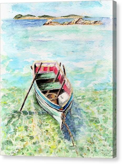 Kavala Row Boat Canvas Print