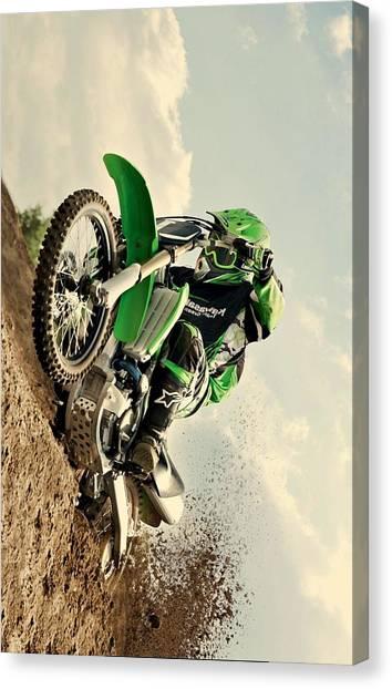 Dirt Bikes Canvas Print - Kawasaki Hill Climb by Movie Poster Prints