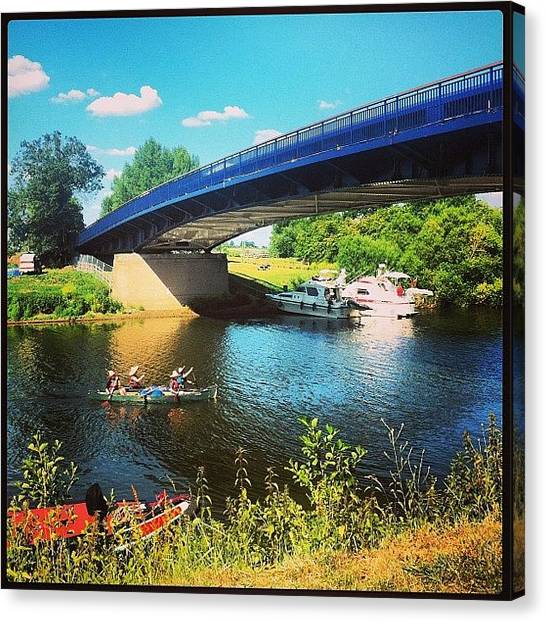 Kayaks Canvas Print - #kayak #boat #water #river #festival by Boo Mason