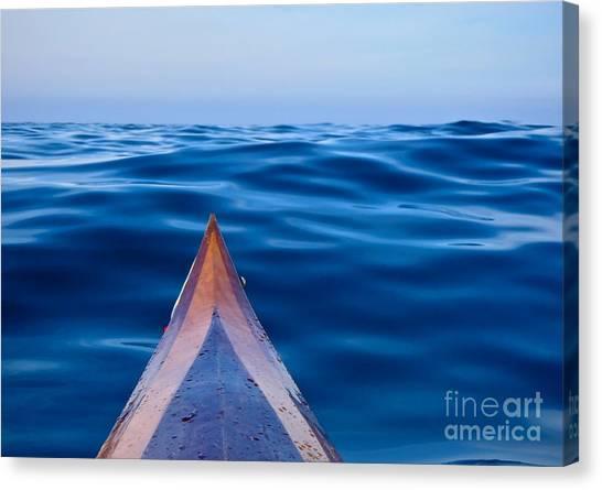 Kayak On Velvet Blue Canvas Print
