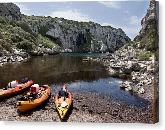 Kayak Time - The Landscape Of Cales Coves Menorca Is A Great Place For Peace And Sport Canvas Print