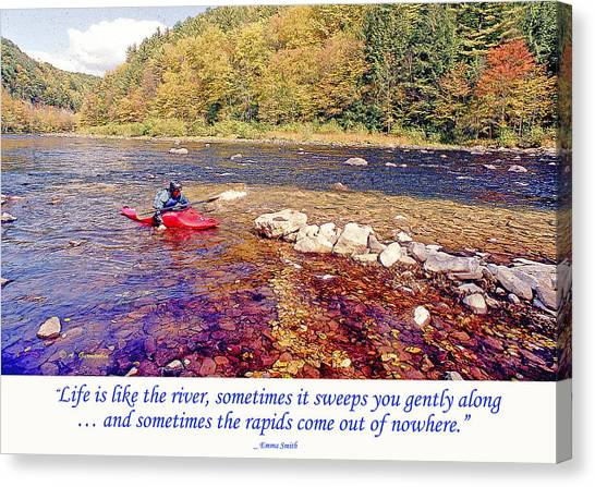 Kayaker Running A River Canvas Print