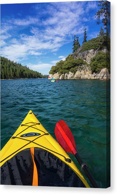Kayaking In Emerald Bay At Fannette Canvas Print by Russ Bishop