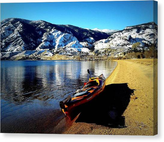 Kayaking In January Canvas Print