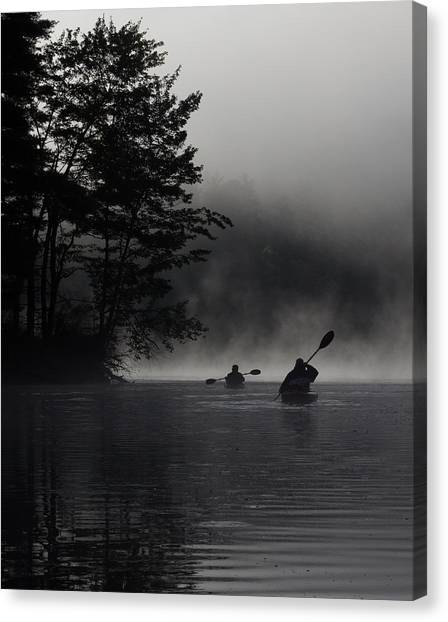 Kayaking In The Fog Canvas Print