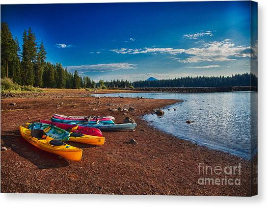 Canvas Print featuring the painting Kayaking On Howard Prairie Lake In Oregon by Omaste Witkowski