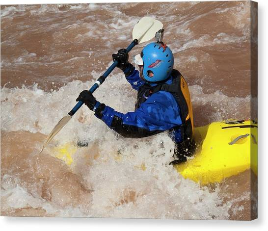 Colorado Rapids Canvas Print - Kayaking The Colorado by Jim West