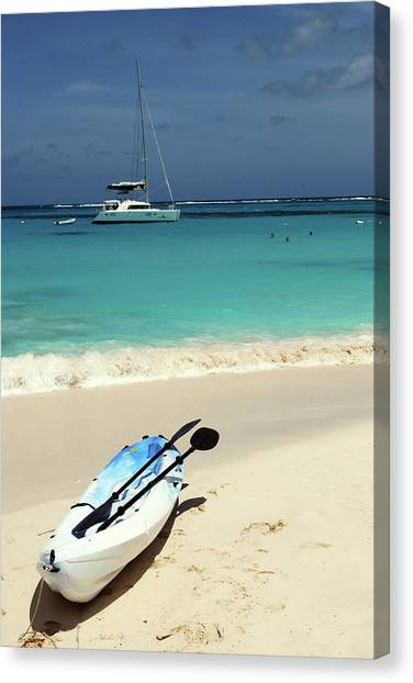 Catamarans Canvas Print - Kayaking The Waters Of Prickly Pear by Lynn Seldon