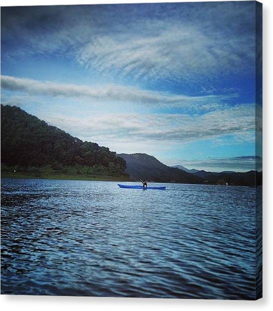 Kayaks Canvas Print - #kayaking #valle #wife #lake by Juan Carlos Bernal