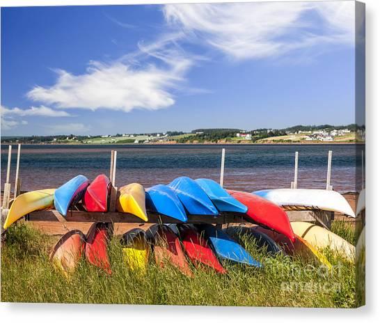 Prince Edward Island Canvas Print - Kayaks At Atlantic Shore  by Elena Elisseeva