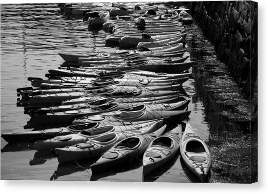 Kayaks At Rockport Black And White Canvas Print