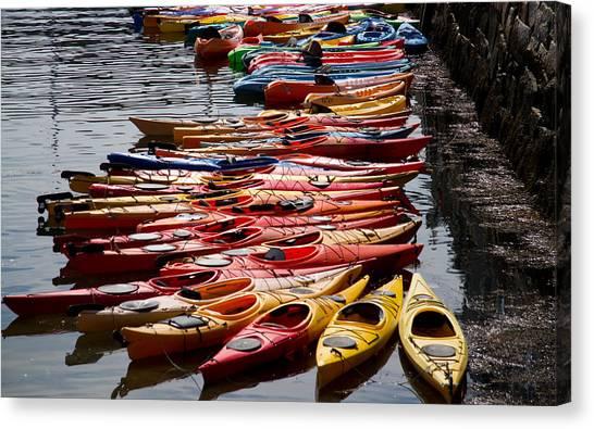 Kayaks At Rockport Canvas Print