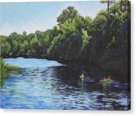 Kayaks On Rainbow River Canvas Print
