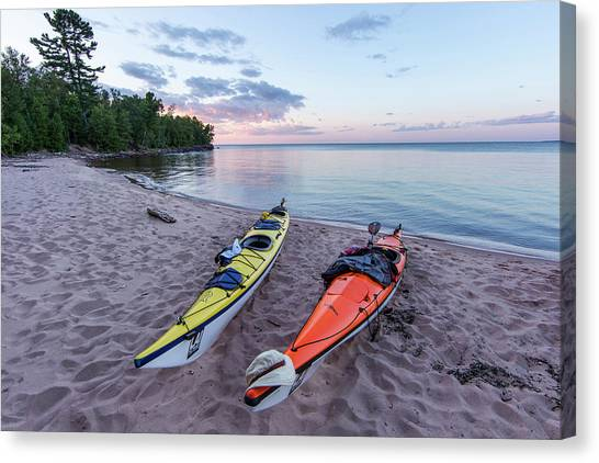 Kayaks Canvas Print - Kayaks On Sand Beach At York Island by Chuck Haney