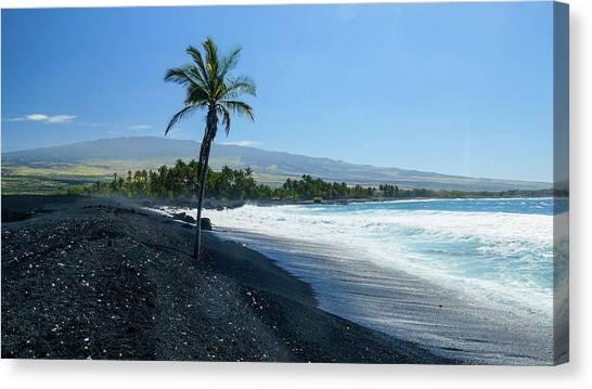 Black Sand Canvas Print - Keawaiki Bay, Black Sand Beach, Kohala by Douglas Peebles