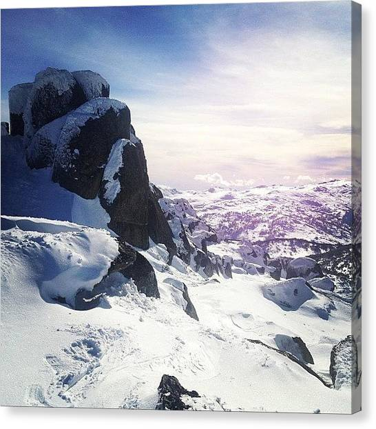 Snowboarding Canvas Print - Keen To Get Amongst It This Week by Rani Siregar