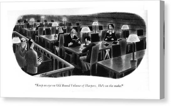 Attendant Canvas Print - Keep An Eye On Old Bound Volume Of Harpers. He's by Richard Taylor