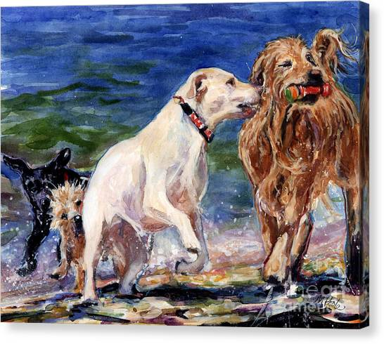 Golden Retrievers Canvas Print - Keep Away by Molly Poole
