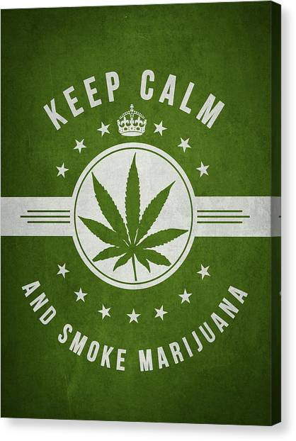 Marijuana Canvas Print - Keep Calm And Smoke Marijuana - Green by Aged Pixel