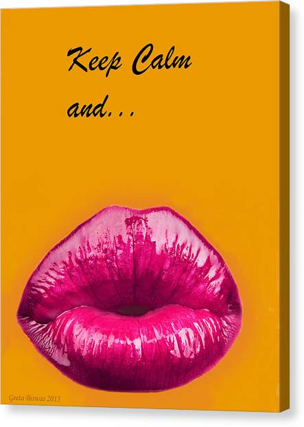Keep Calm And Smooch Canvas Print