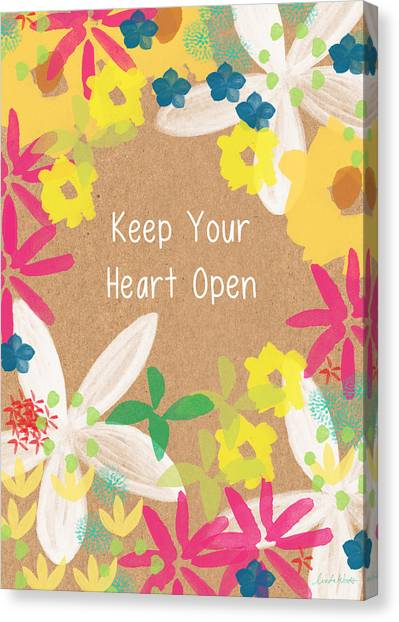 Tulips Canvas Print - Keep Your Heart Open by Linda Woods