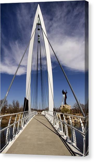 Keeper Of The Plains Bridge View Canvas Print