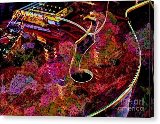 Keeping In Tune Digital Guitar Art By Steven Langston Canvas Print by Steven Lebron Langston