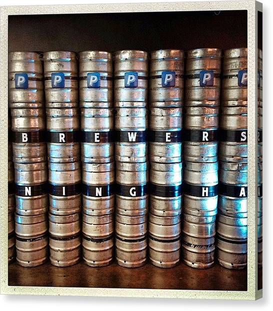 Keg Canvas Print - Kegs At Brewers Dining Hall At A by Luis Aviles
