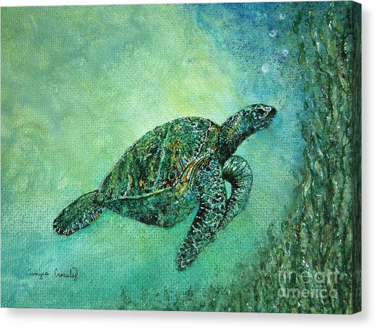 Kelp Forest Sea Turtle Canvas Print