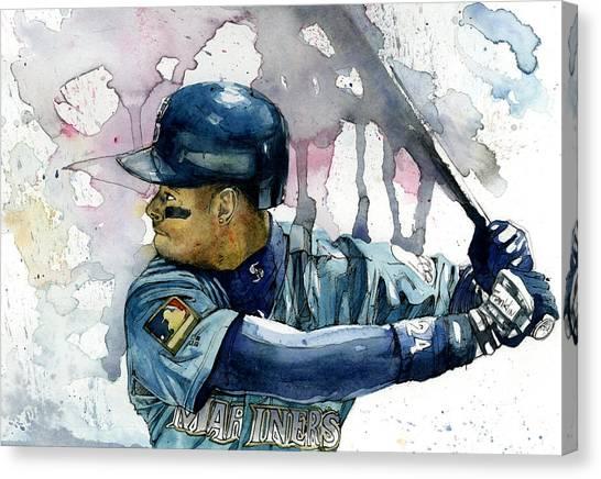 Seattle Mariners Canvas Print - Ken Griffey Jr. by Michael  Pattison