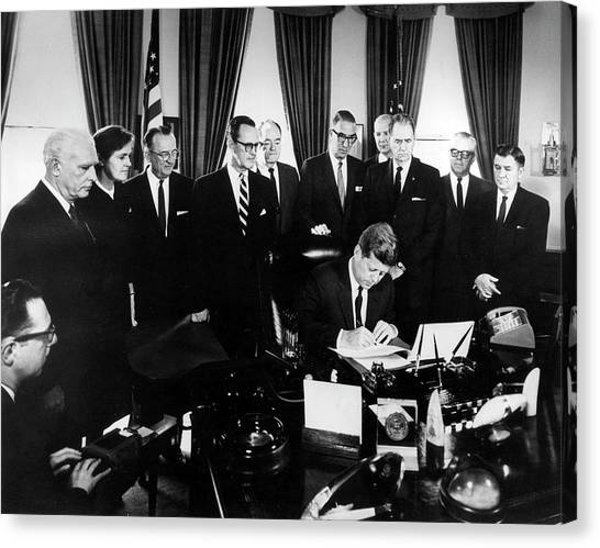 Political Science Canvas Print - Kennedy Signing The 1962 Drug Amendments by Food & Drug Administration