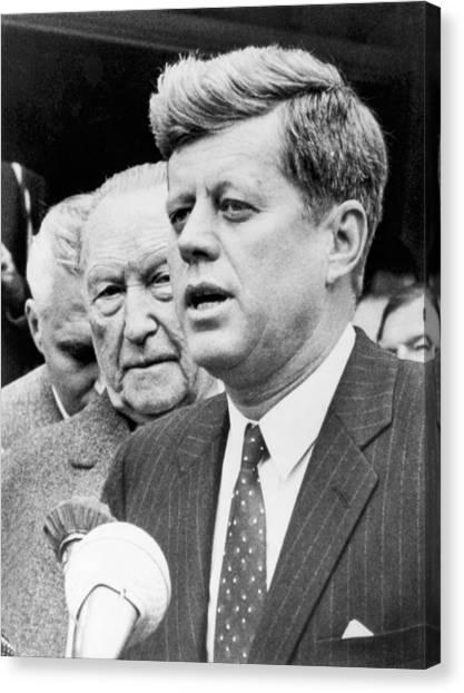 Cold War Canvas Print - Kennedy With Konrad Adenauer by Underwood Archives