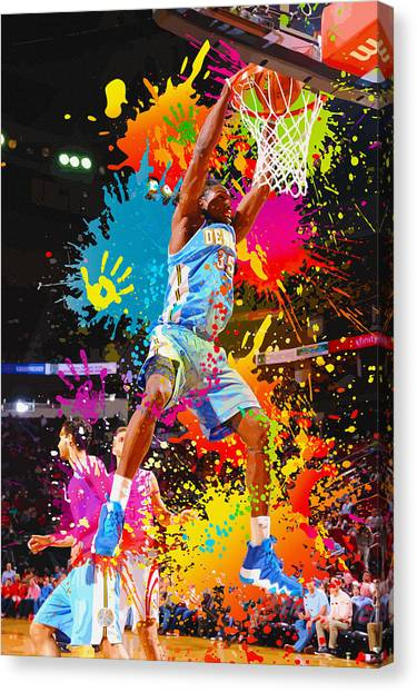 Denver Nuggets Canvas Print - Kenneth Faried  Of The Denver Nuggets Dunks by Don Kuing