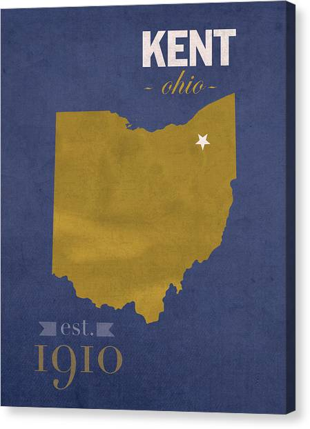 Kent State University Canvas Print - Kent State University Golden Flashes Kent Ohio College Town State Map Poster Series No 053 by Design Turnpike