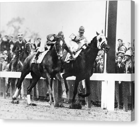 Kentucky Derby Canvas Print - Kentucky Derby Foul Play by Underwood Archives
