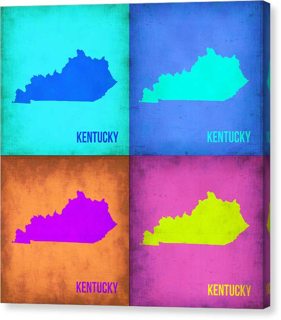 Kentucky Canvas Print - Kentucky Pop Art Map 1 by Naxart Studio