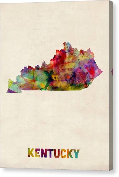 Kentucky Canvas Print - Kentucky Watercolor Map by Michael Tompsett