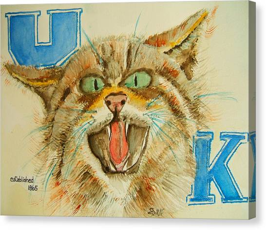 University Of Kentucky Canvas Print - Kentucky Wildcats by Elaine Duras