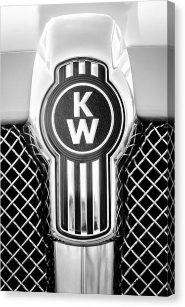 Canvas Print featuring the photograph Kenworth Truck Emblem -1196bw by Jill Reger