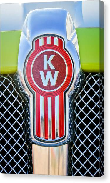 Trucks Canvas Print - Kenworth Truck Emblem -1196c by Jill Reger