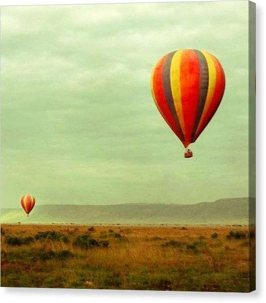 Kenyan Canvas Print - #kenya #sky #cloudy #balloon #amboseli by Miori Bando