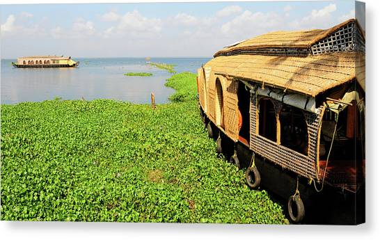 Bayous Canvas Print - Kerala Houseboats On Kumarakom Lake by Steve Roxbury